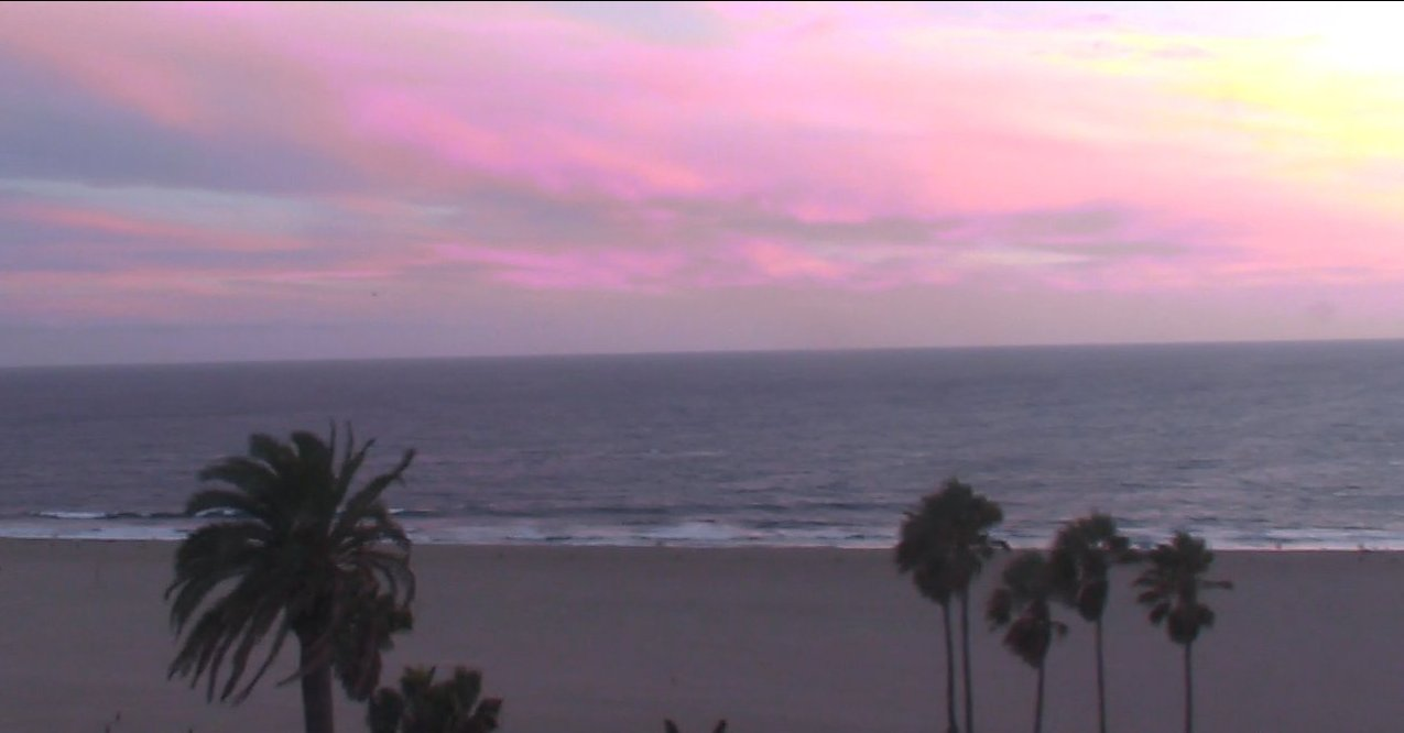 Pink Sunset on the Santa Monica Live Cam, Snapshot from riverrock :0)