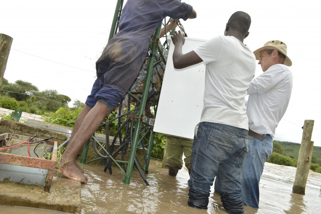 Salvaging the broadcast equipment during the floods on the Ewaso Ng'iro