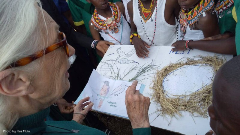 Dr. Jane Goodall with pupils at Segera