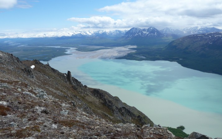 savonoski and ukak rivers pour sediment into the iliuk arm, as seen from Mt. La Gorce summit