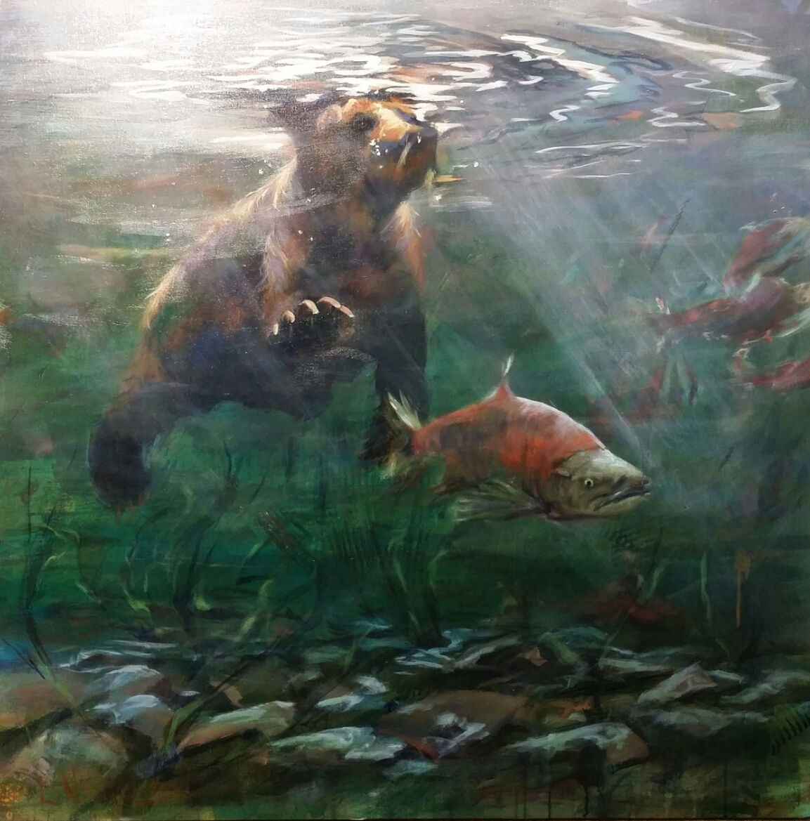Bear Snorkeling by Louise Nicholson